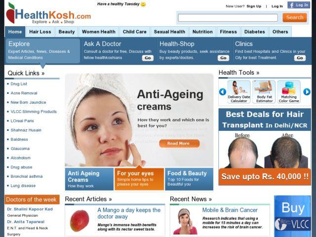 screenshot of Healthkosh