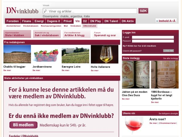 screenshot of DN Vinklubb