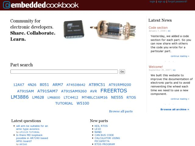 screenshot of EmbeddedCookbook.com
