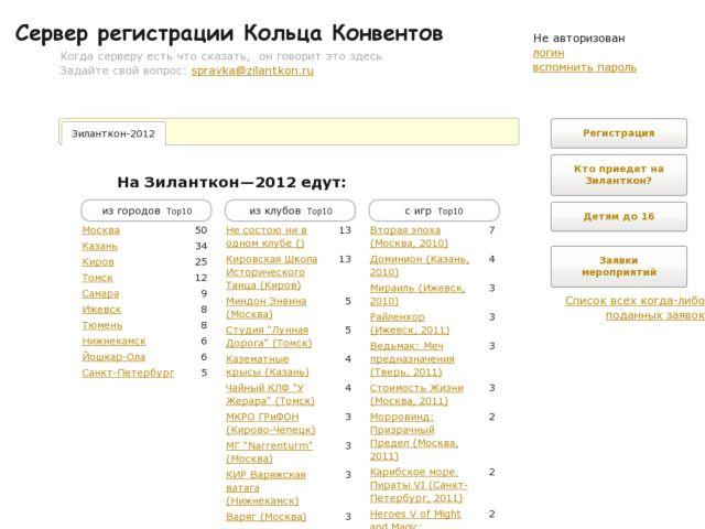 Russian rpg-convents registration server