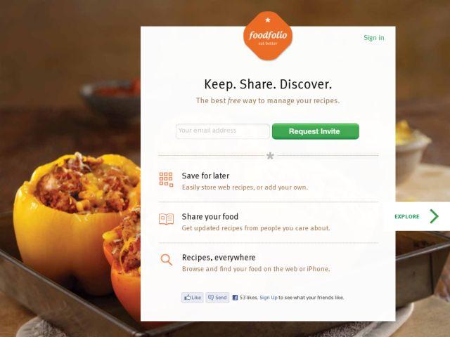 screenshot of Foodfolio