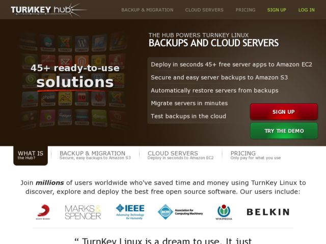 screenshot of TurnKey Linux Hub