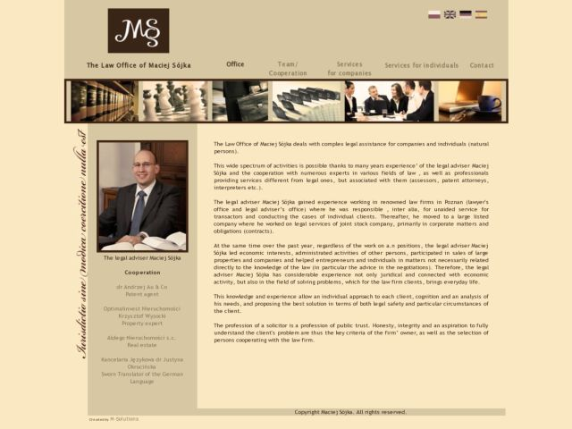 screenshot of Maciej Sojka - the law office