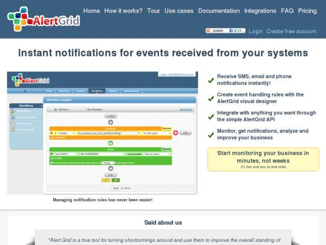 screenshot of AlertGrid