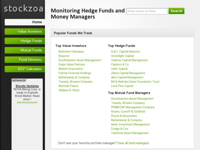 stockzoa.com - Hedge Fund Tracking Tool