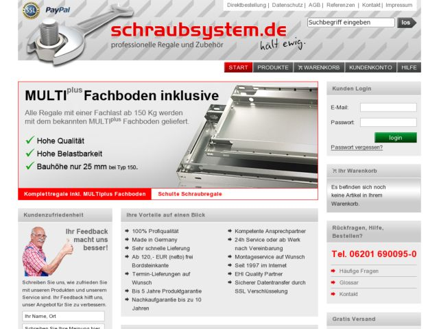 screenshot of www.schraubsystem.de