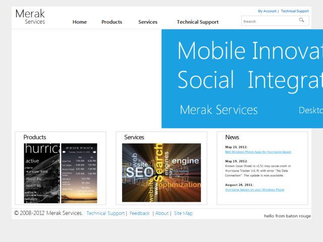 screenshot of Merak Services
