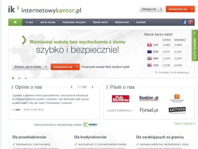 screenshot of Online Money Exchange Service - internetowykantor.pl