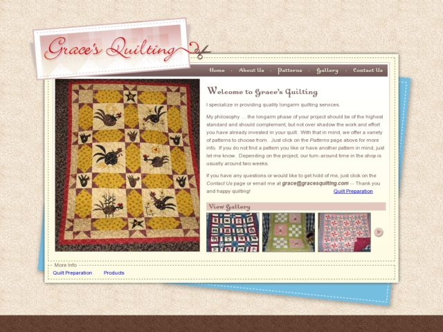 screenshot of Grace's Quilting