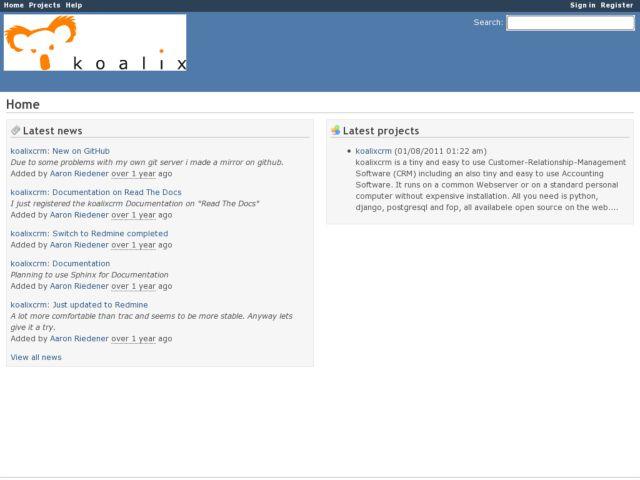 screenshot of koalixcrm