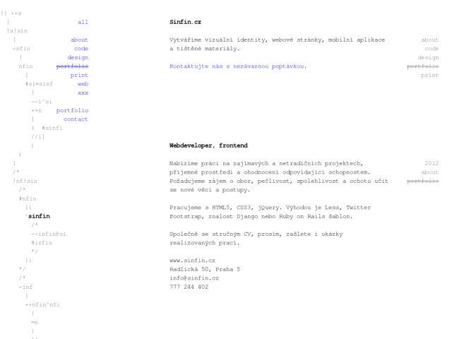 screenshot of Sinfin.cz