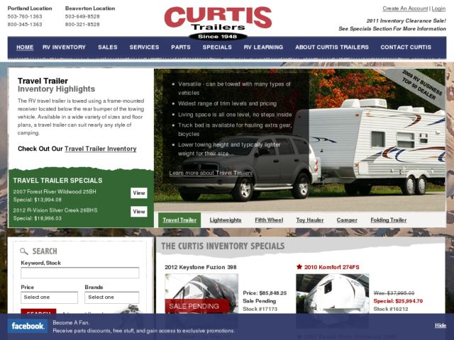 screenshot of Curtis Trailers