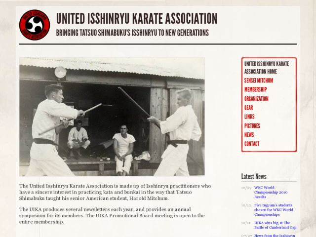 screenshot of United Isshinryu Karate Association