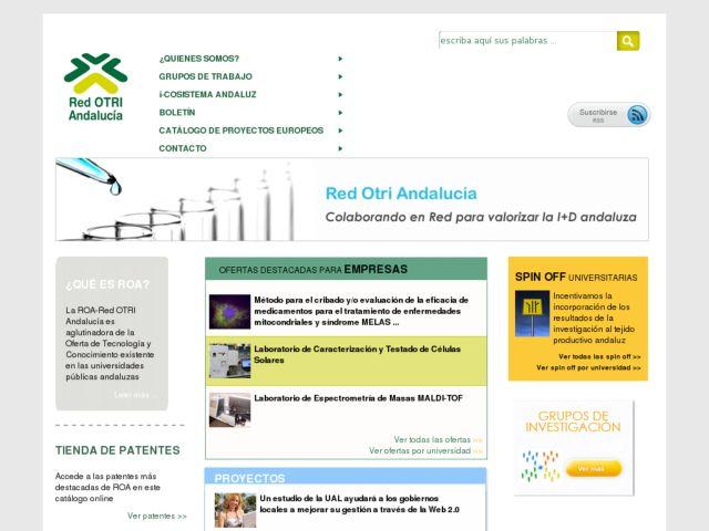 screenshot of Red OTRI Andalucía
