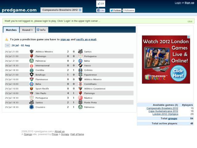 screenshot of predgame.com