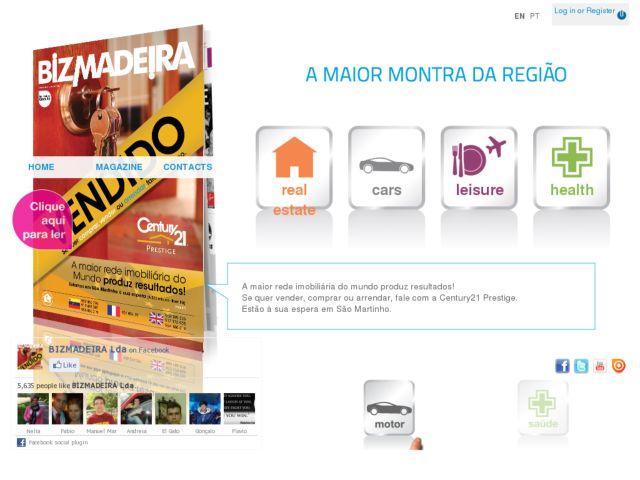 screenshot of BIZMADEIRA - Imóveis e carros para venda na Ilha da Madeira