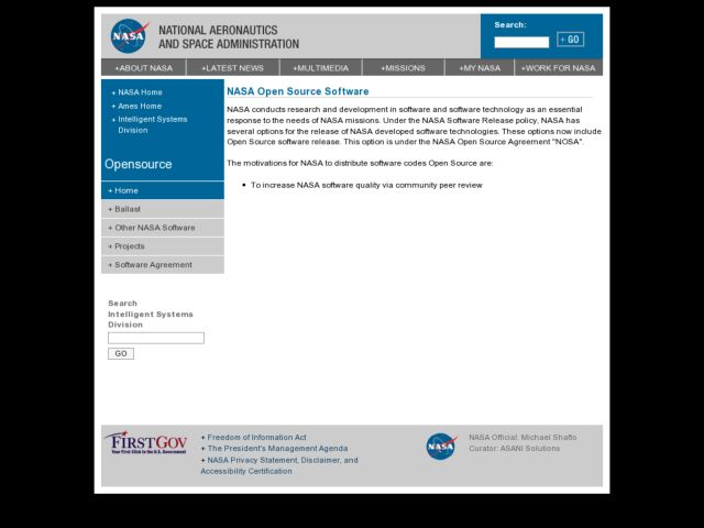 screenshot of opensource.arc.nasa.gov