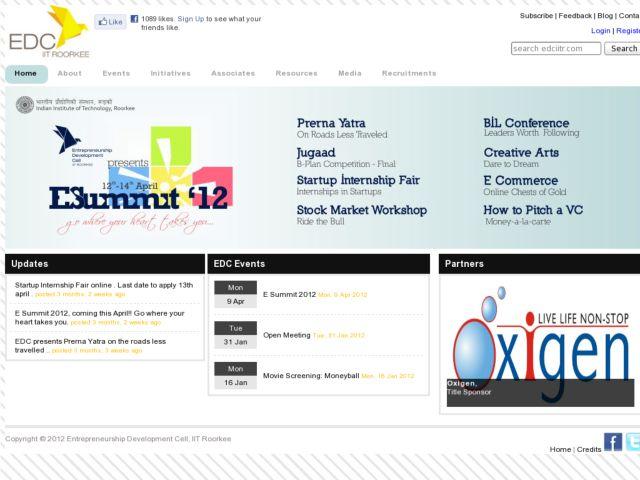 screenshot of Entrepreneurship Development Cell, IIT Roorkee