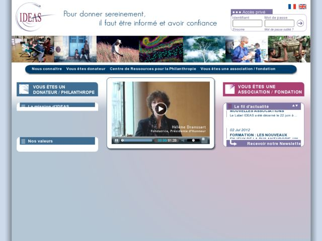 screenshot of Association IDEAS - Label IDEAS : bonnes pratiques des associations et informations pour donateurs