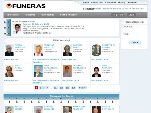 screenshot of Funeras - a social network for the dead