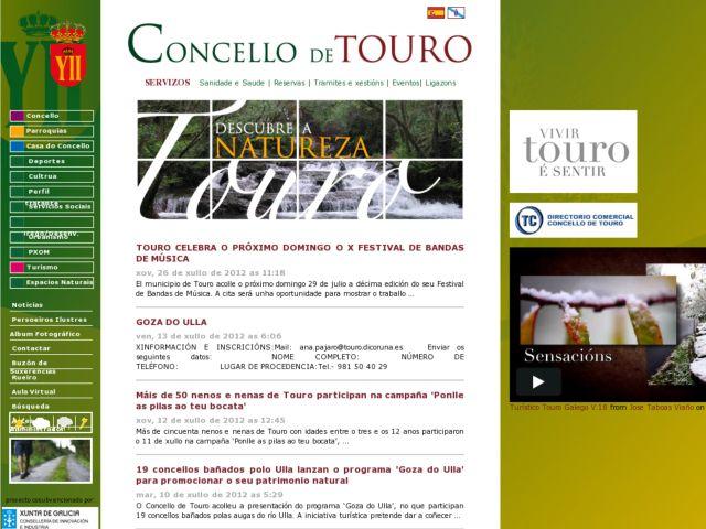 screenshot of Concello de Touro: Galicia - Spain