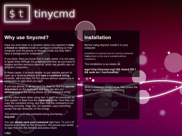 tinycmd — the command string shortening service