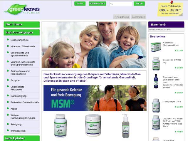 screenshot of Greenleaves Vitamins
