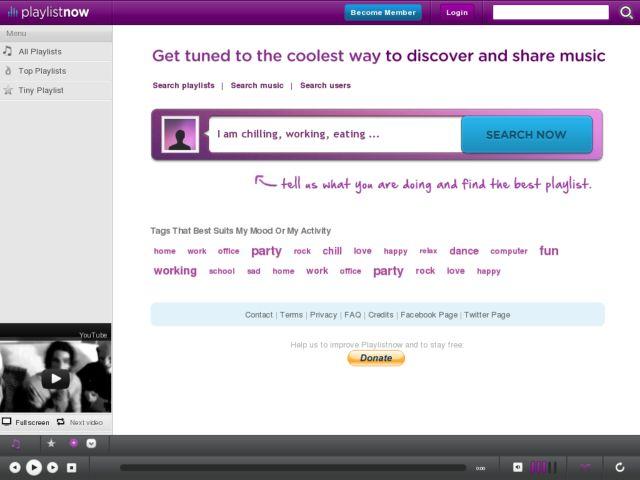 screenshot of PlaylistNow.Fm
