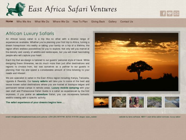 screenshot of East Africa Safari Ventures