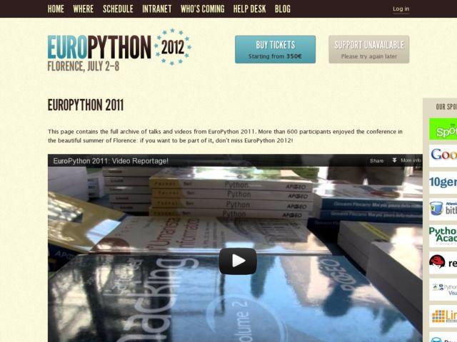 screenshot of EuroPython 2011