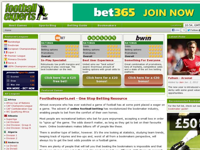 Football Experts - Odds Comparison and Football Fixtures