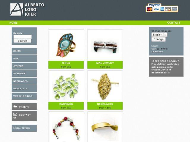 screenshot of Alberto Lobo Online Jewellery