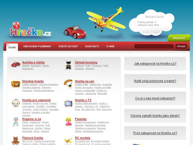 screenshot of Czech toys shop