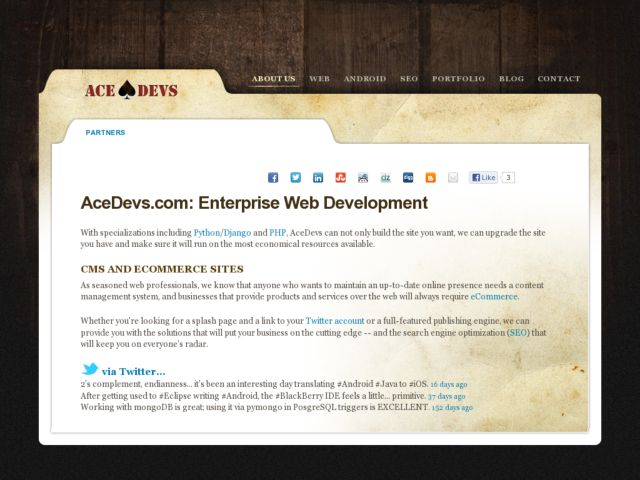 screenshot of AceDevs, Inc.