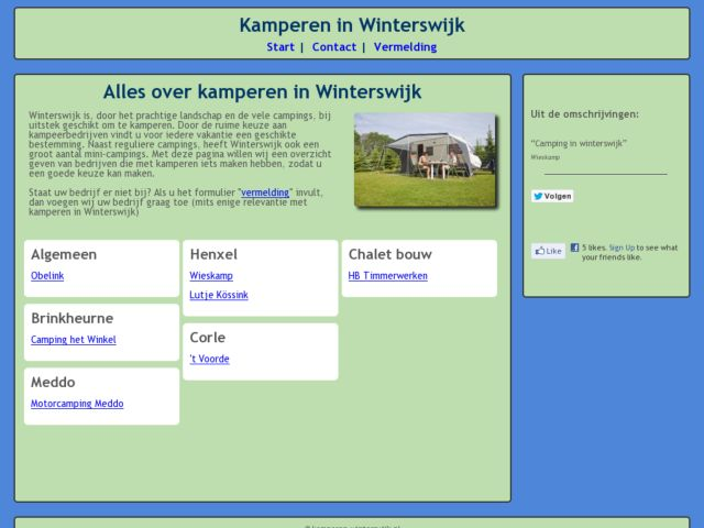 screenshot of Site about campgrounds in Winterswijk  (Netherlands)