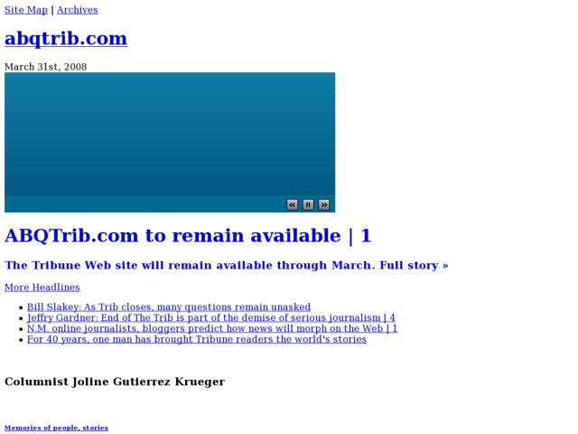 screenshot of ABQTrib.com