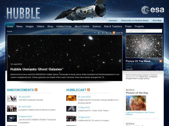 screenshot of Hubble Space Telescope