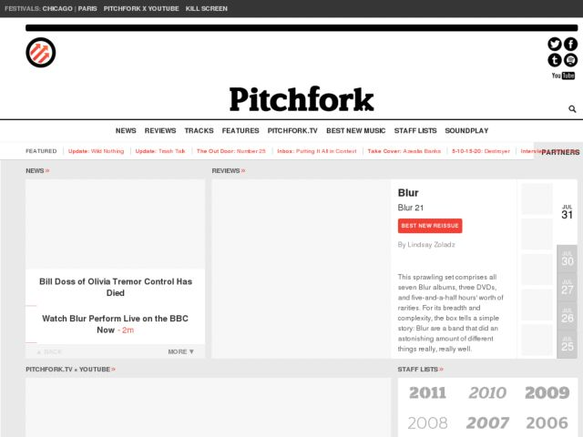 screenshot of Pitchfork