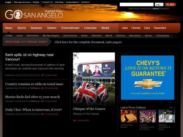 screenshot of GoSanAngelo.com