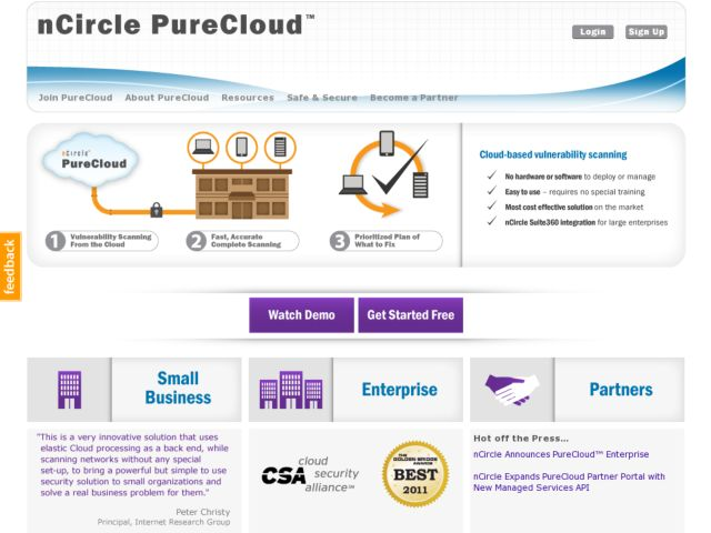 screenshot of nCircle PureCloud