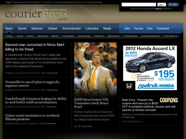 screenshot of courierpress.com