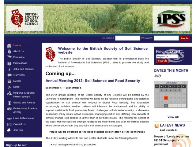 screenshot of The British Society of Soil Science