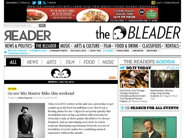 screenshot of The Chicago Reader Blogs
