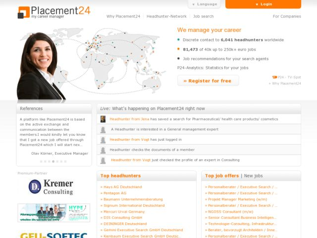 screenshot of Placement24