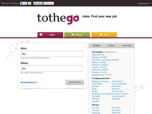 screenshot of tothego.com
