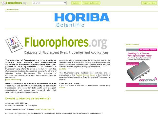 screenshot of Fluorophores.org