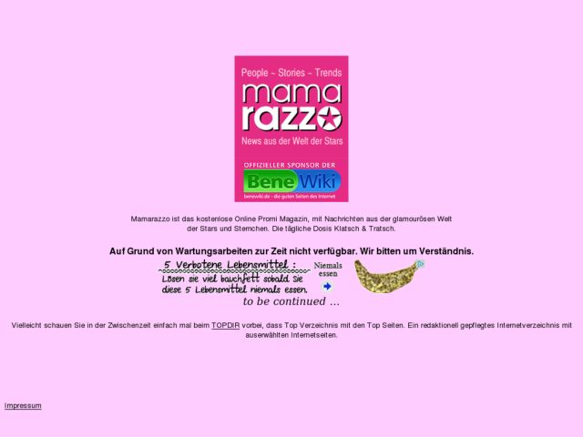 screenshot of mamarazzo online magazin