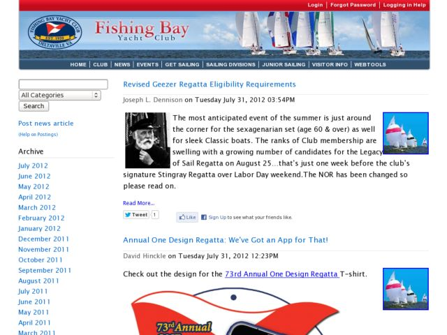 Fishing Bay Yacht Club News Section
