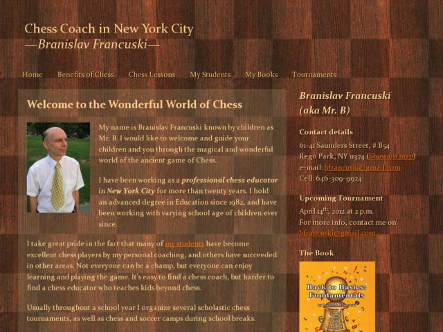 Chess Coach in New York City - Branislav Francuski