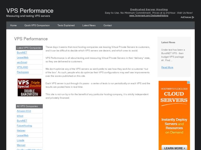 screenshot of VPS Performance